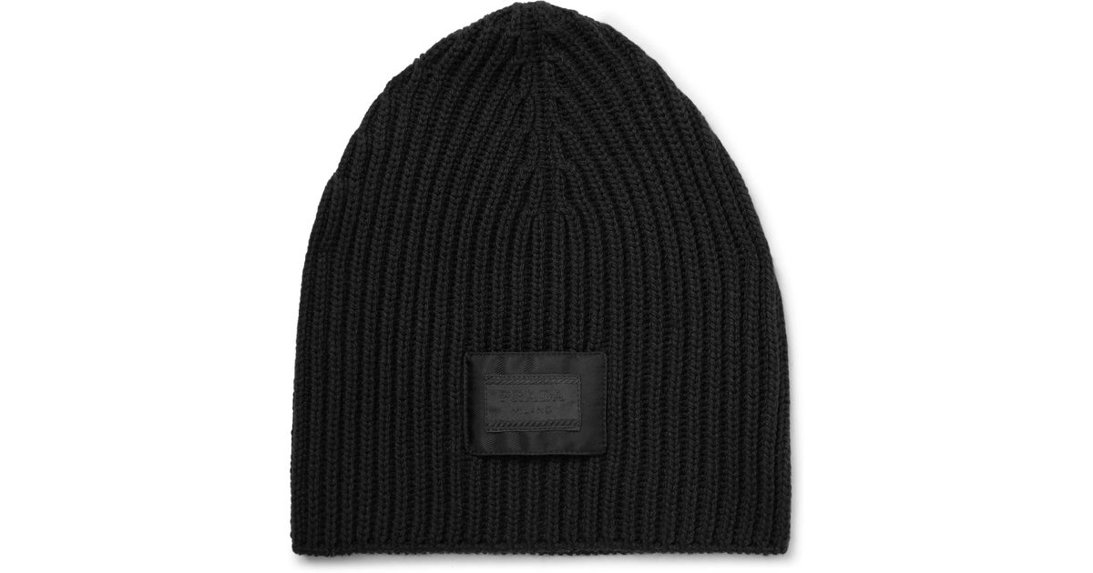 4e85732dfa0 Lyst - Prada Logo-appliquéd Ribbed Virgin Wool Beanie in Black for Men