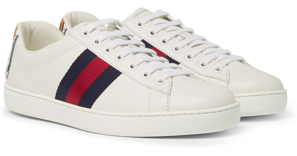 cd22de8528e Gucci Ace Watersnake-trimmed Leather Sneakers in White for Men - Save 10% -  Lyst