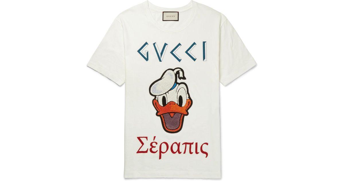 0899dd6b4 Gucci Disney Appliquéd Printed Cotton-jersey T-shirt in White for Men - Lyst