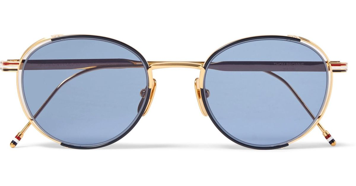 f0a5e80960f0 Lyst - Thom Browne Round-frame Enamelled Gold-tone Sunglasses in Blue for  Men