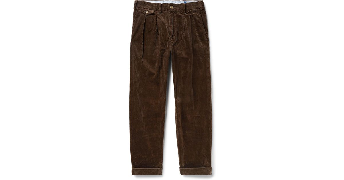 11b7d2a48 Polo Ralph Lauren Wide-leg Pleated Stretch-cotton Corduroy Trousers in  Brown for Men - Lyst