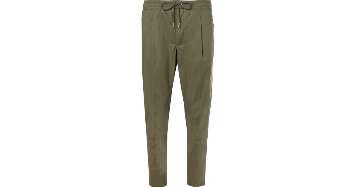 Cropped Tapered Stretch-cotton Poplin Drawstring Trousers Moncler nivbNqQ