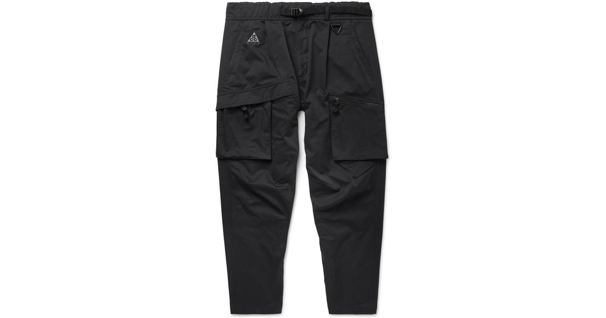 cf6171dd27c08 Nike Black Acg Tapered Cotton-blend Twill Cargo Trousers in Black for Men -  Lyst