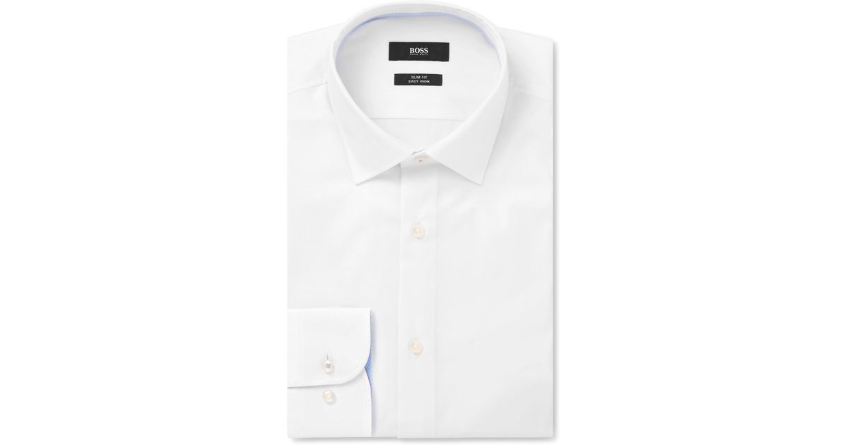 HUGO BOSS White Jesse Slim-fit Cotton-poplin Shirt - White TANEbV3X