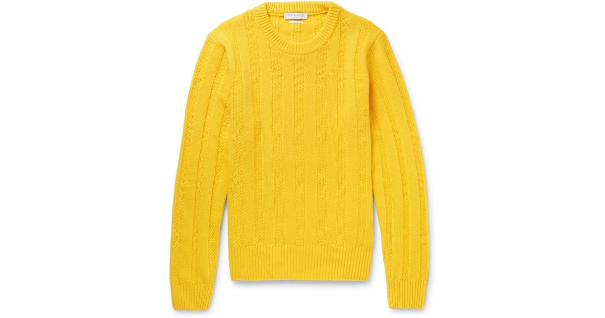 Sandro Cable-knit Wool Sweater in Yellow for Men | Lyst