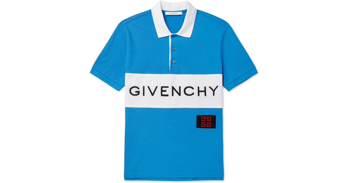 ae45ab46 Givenchy Slim-fit Logo-embroidered Cotton-piqué Polo Shirt in Blue for Men  - Lyst