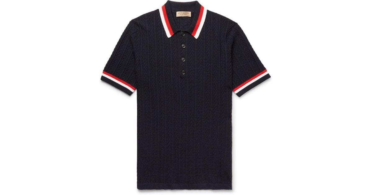 bdba7bcf Lyst - Burberry Striped Merino Wool Polo Shirt in Blue for Men