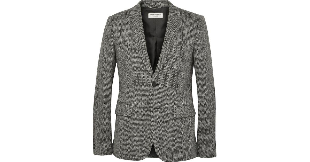 Saint Laurent Grey Slim Fit Leather Elbow Patch Herringbone Wool
