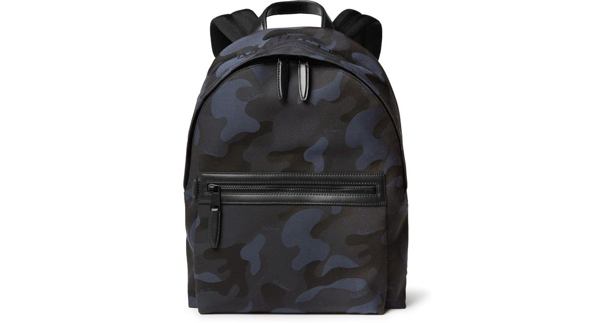 Lyst - Mulberry Leather-trimmed Camouflage-print Canvas Backpack in Blue  for Men d909a3aaeef1a