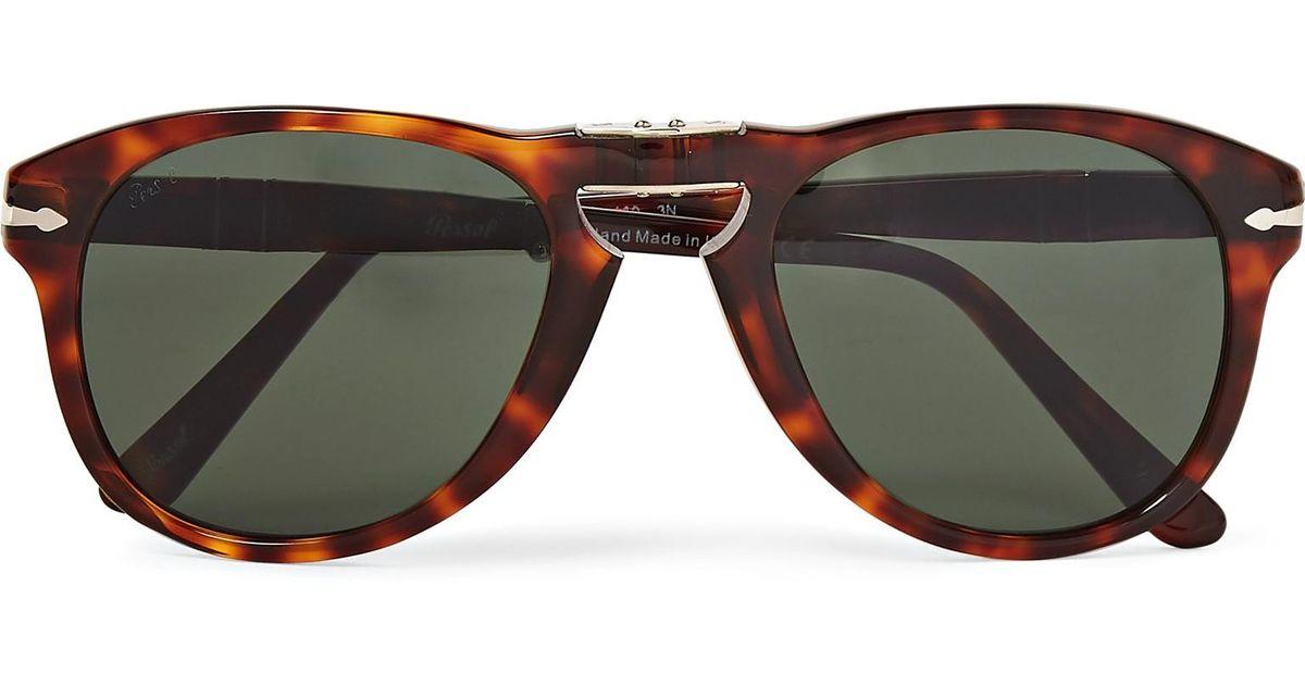 e0f8485ec2 Persol 714 Folding D-frame Acetate Sunglasses in Brown for Men - Lyst