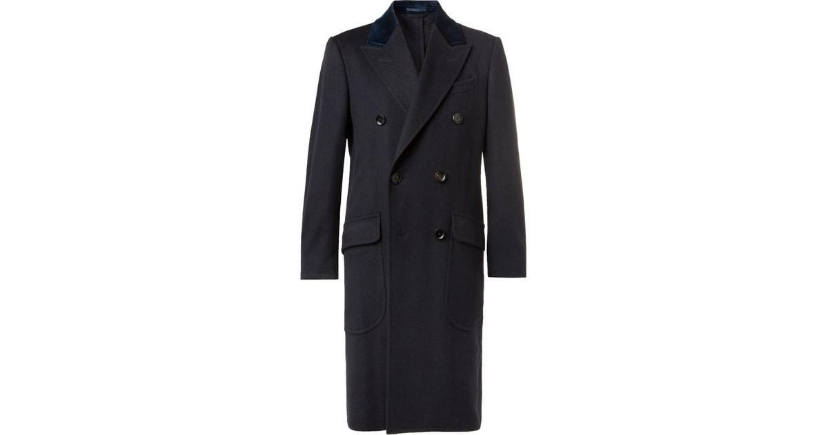 Overcoat in Dunhill for Double Cashmere breasted Blue trimmed Velvet CPwrRXHnqw