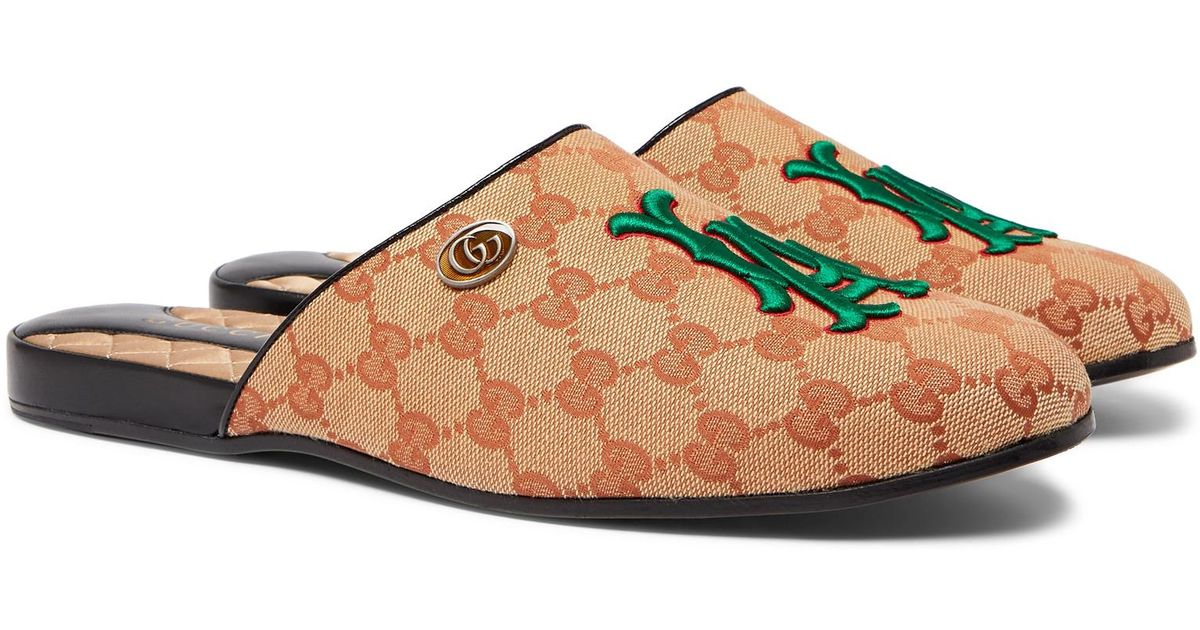 3e0e2ba856b Gucci + Los Angeles Dodgers Flamel Appliquéd Monogrammed Canvas Backless  Loafers in Natural for Men - Lyst