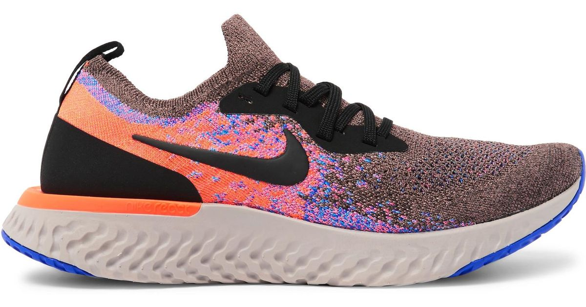 new product cead1 c590f Nike Epic React Rubber-trimmed Flyknit Running Sneakers in Orange for Men -  Lyst