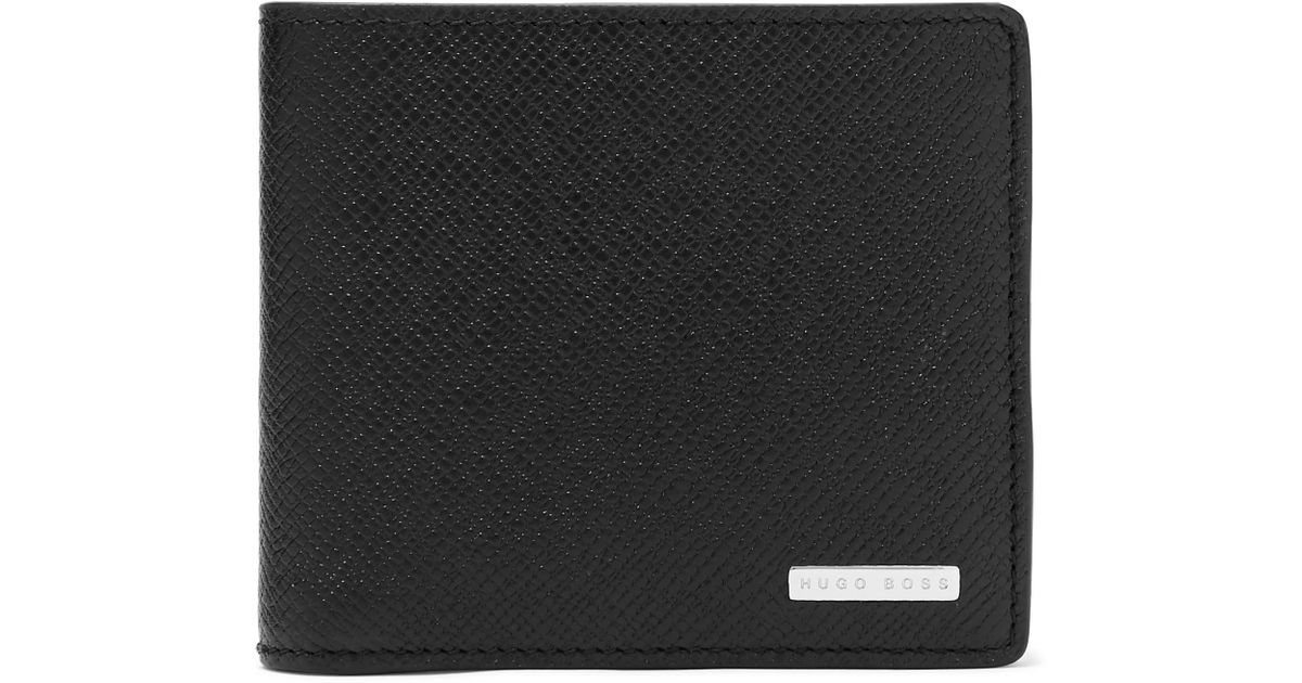 9ab4fddb2a Lyst - BOSS Signature Cross-grain Leather Billfold Wallet in Black for Men