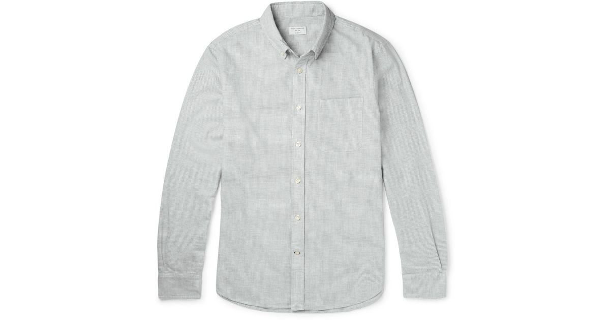 50c3a638c91 Club Monaco Slim-fit Button-down Collar Puppytooth Cotton-flannel Shirt in  Gray for Men - Lyst