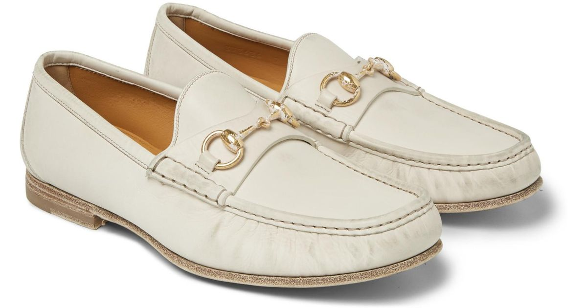 250341fc281 Lyst - Gucci Horsebit Burnished-leather Loafers in White for Men