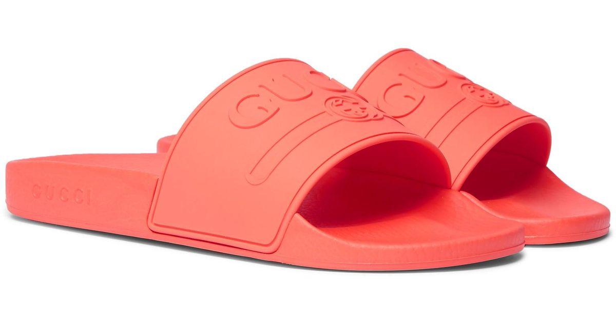 f7e4ab7a95f44c Lyst - Gucci Logo-embossed Rubber Slides in Red for Men