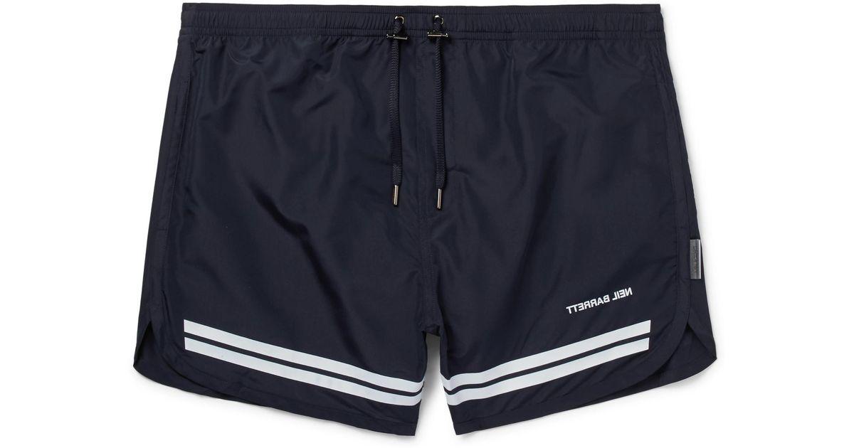 225fc87062c04 Neil Barrett Short-length Striped Swim Shorts in Blue for Men - Lyst