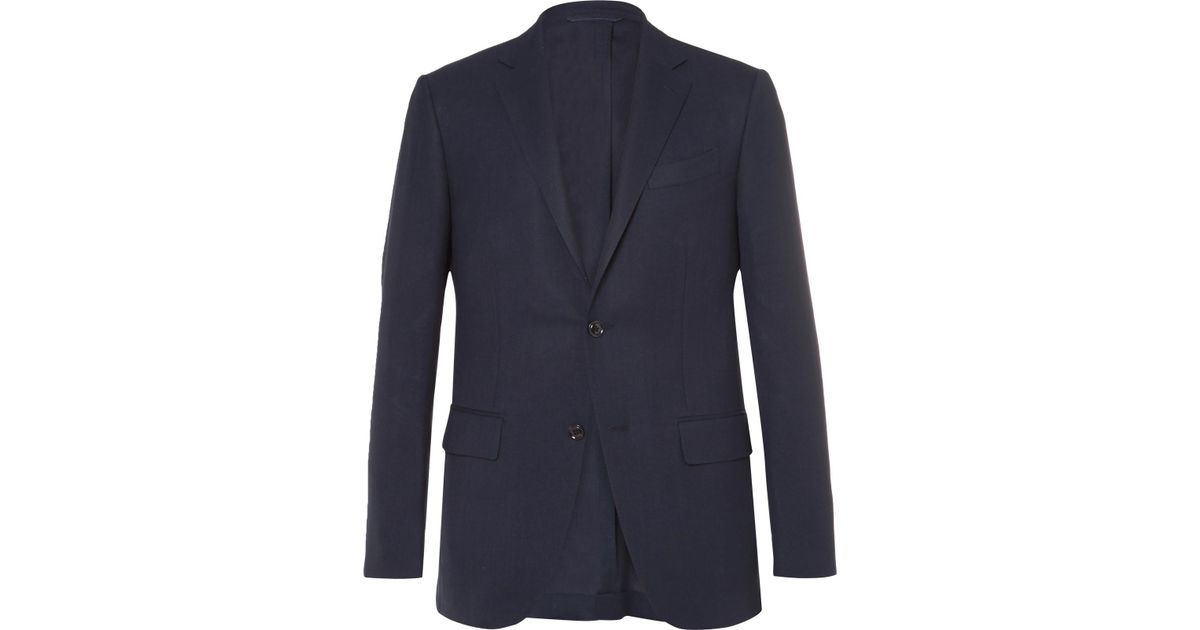 49c732a27f88fd Ermenegildo Zegna Blue Slim-fit High Performance Wool Travel Blazer in Blue  for Men - Lyst