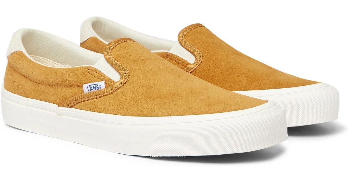 16d90ade61 Lyst - Vans Og 59 Lx Suede Slip-on Sneakers in Yellow for Men