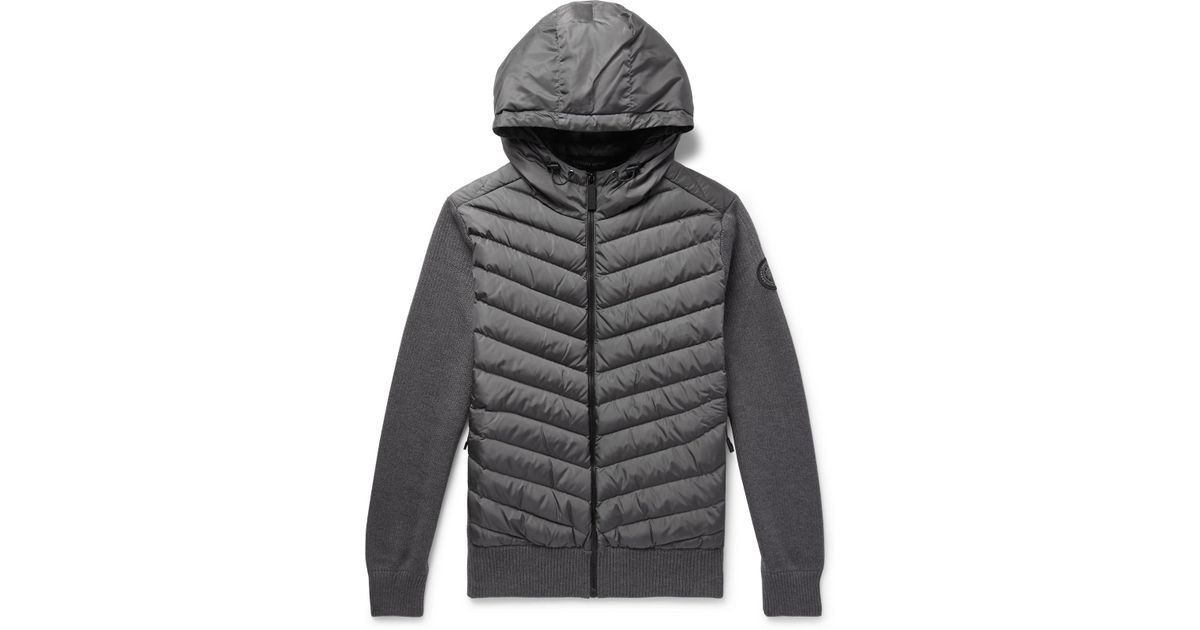 0c42e177f3 Canada Goose - Gray Hybridge Merino Wool And Quilted Shell Down Jacket  Zip-up Hoodie for Men - Lyst