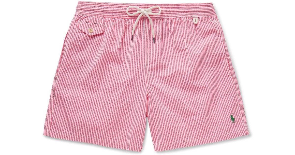 70968a541b ... best price lyst polo ralph lauren traveler striped seersucker swim  shorts in pink for men 09243