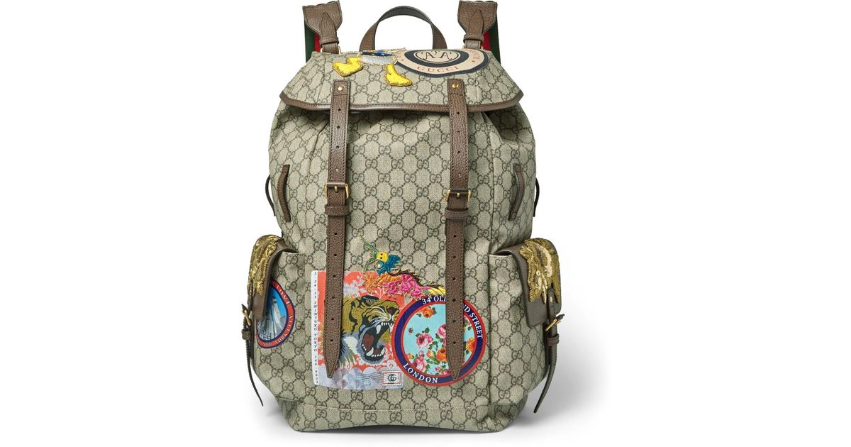 35bc63daa Gucci Leather-trimmed Appliquéd Monogrammed Coated-canvas Backpack in Brown  for Men - Lyst