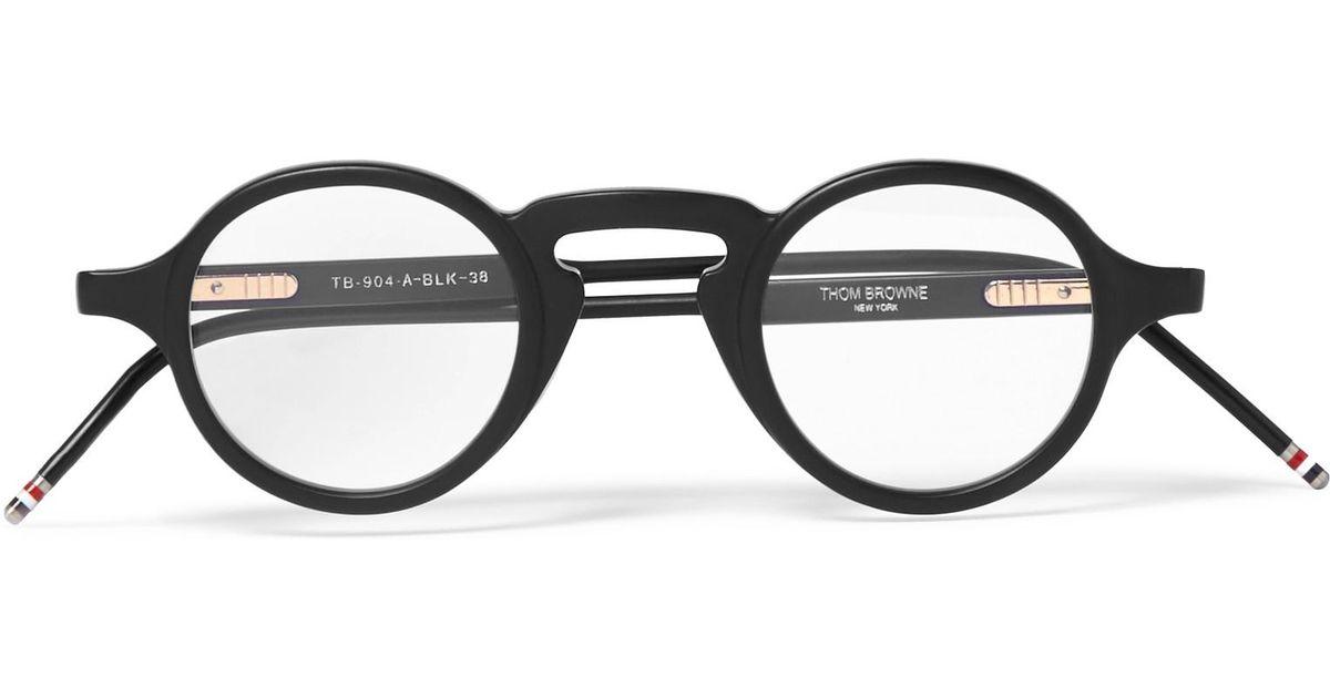 a390c10e4da Thom Browne Round Frame Matte Acetate Optical Glasses In Black For