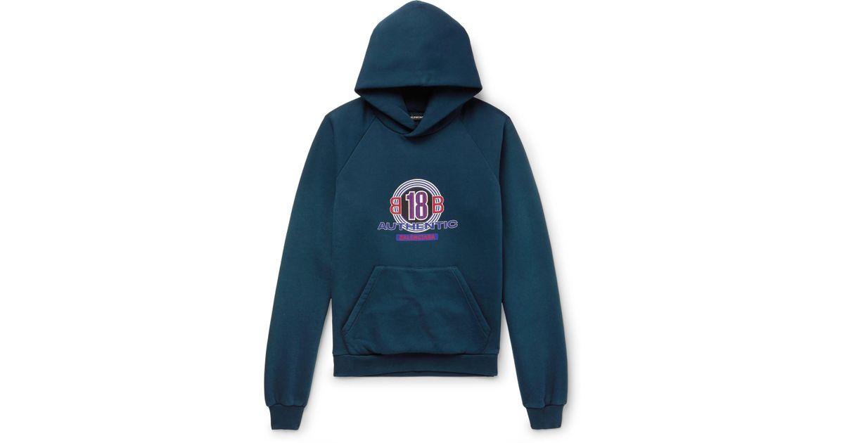 Lyst Balenciaga In For Blend Cotton Men Blue Hoodie Print Jersey Logo rSdTxwqr