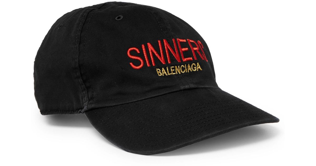 12a07850f23 Balenciaga Sinners Embroidered Cotton-twill Baseball Cap in Black for Men -  Lyst