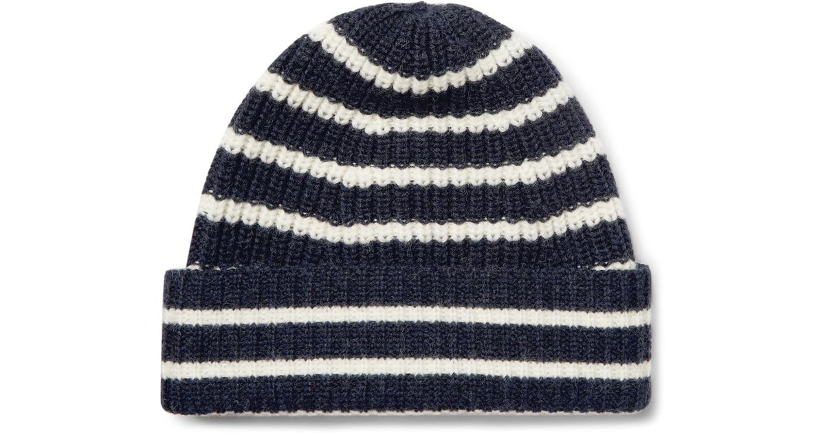 d3ccdcd5a3c Lyst - The Workers Club Striped Merino Wool Beanie in Blue for Men