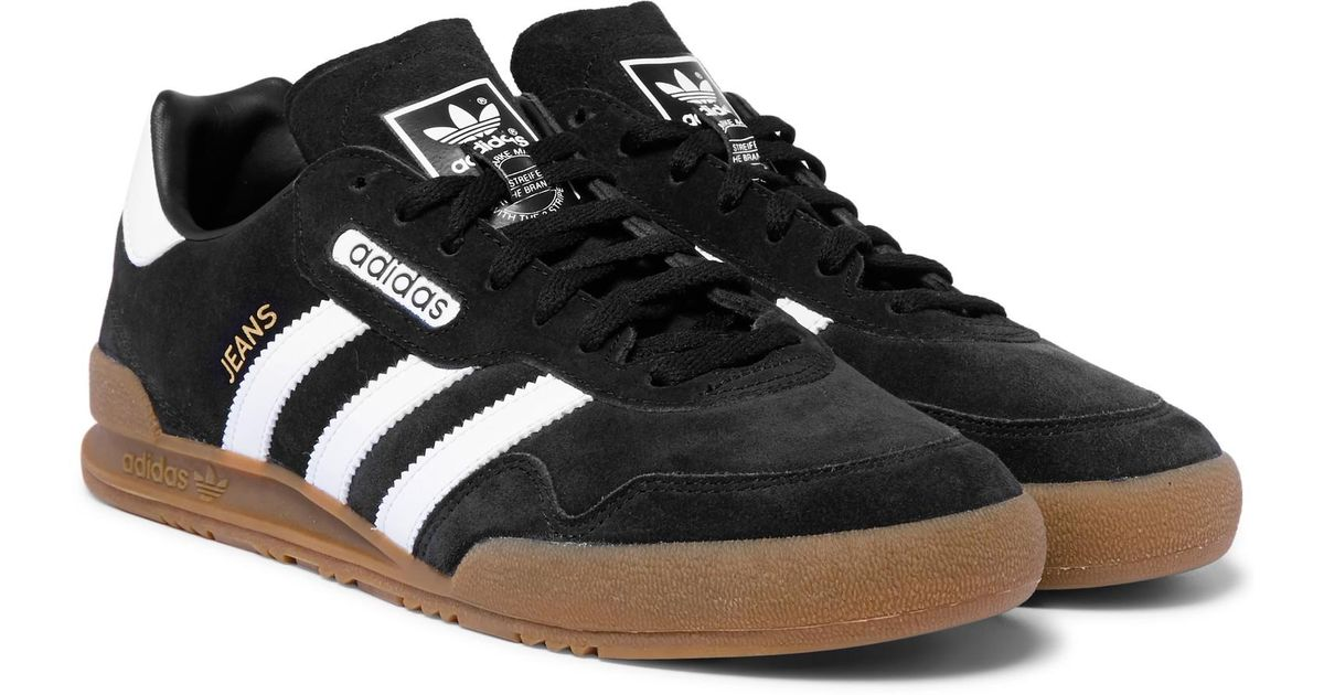 adidas originals jeans super leather-trimmed suede sneakers