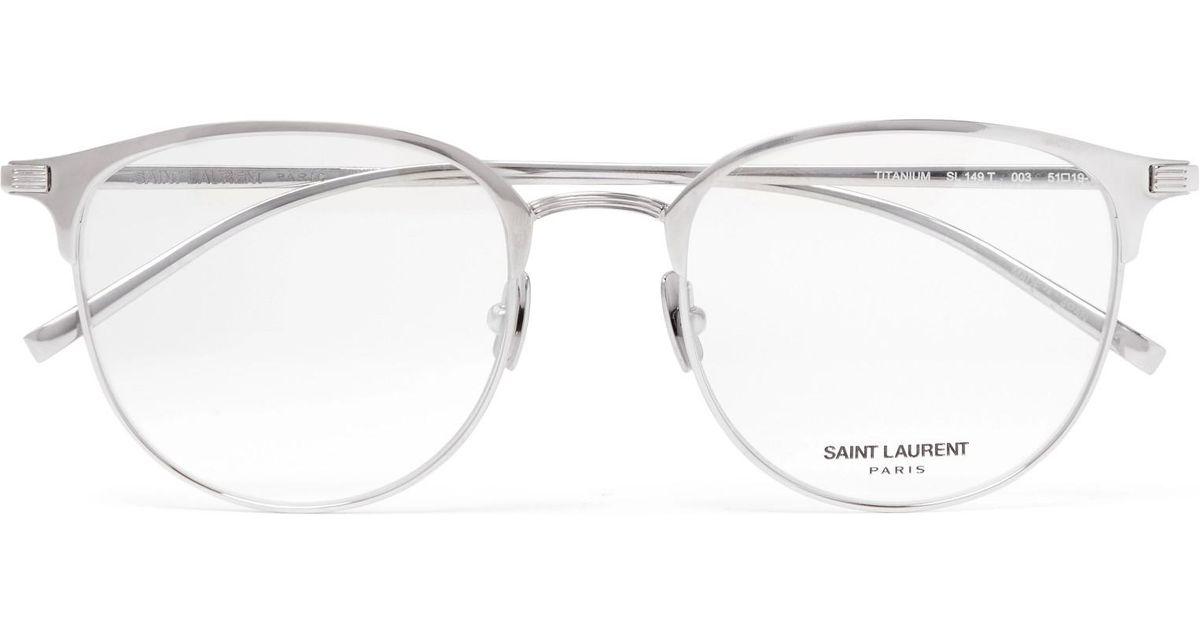 Lyst - Saint Laurent Round-frame Titanium Optical Glasses in ...