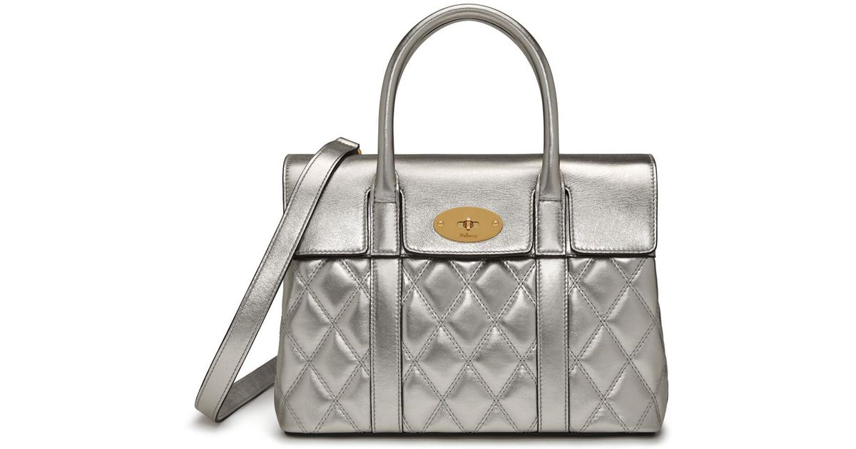 a0224b535ef0 Mulberry Small Bayswater In Light Silver Quilted Smooth Calf in Metallic -  Lyst