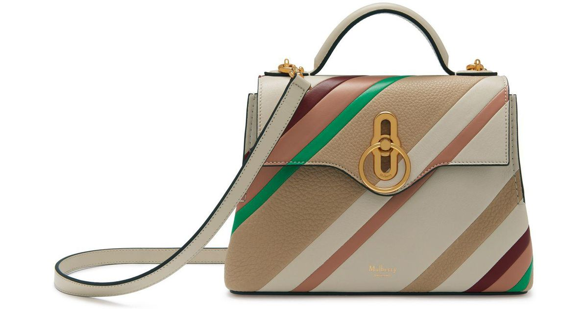 Mulberry Mini Seaton In Chalk Diagonal Stripe Smooth Calf - Lyst d3fd68e9562ff