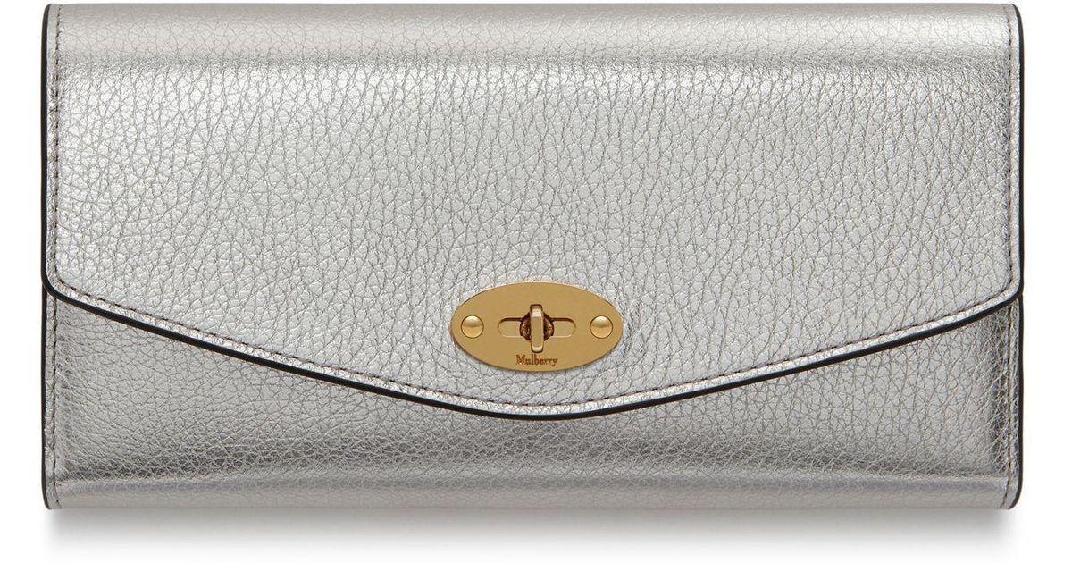 4a325af0629b Lyst - Mulberry Darley Wallet In Light Silver Metallic Printed Calf in  Metallic