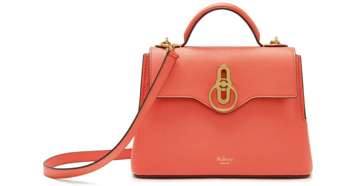 Lyst - Mulberry Mini Seaton In Coral Rose Small Classic Grain in Pink 697f28fc11758
