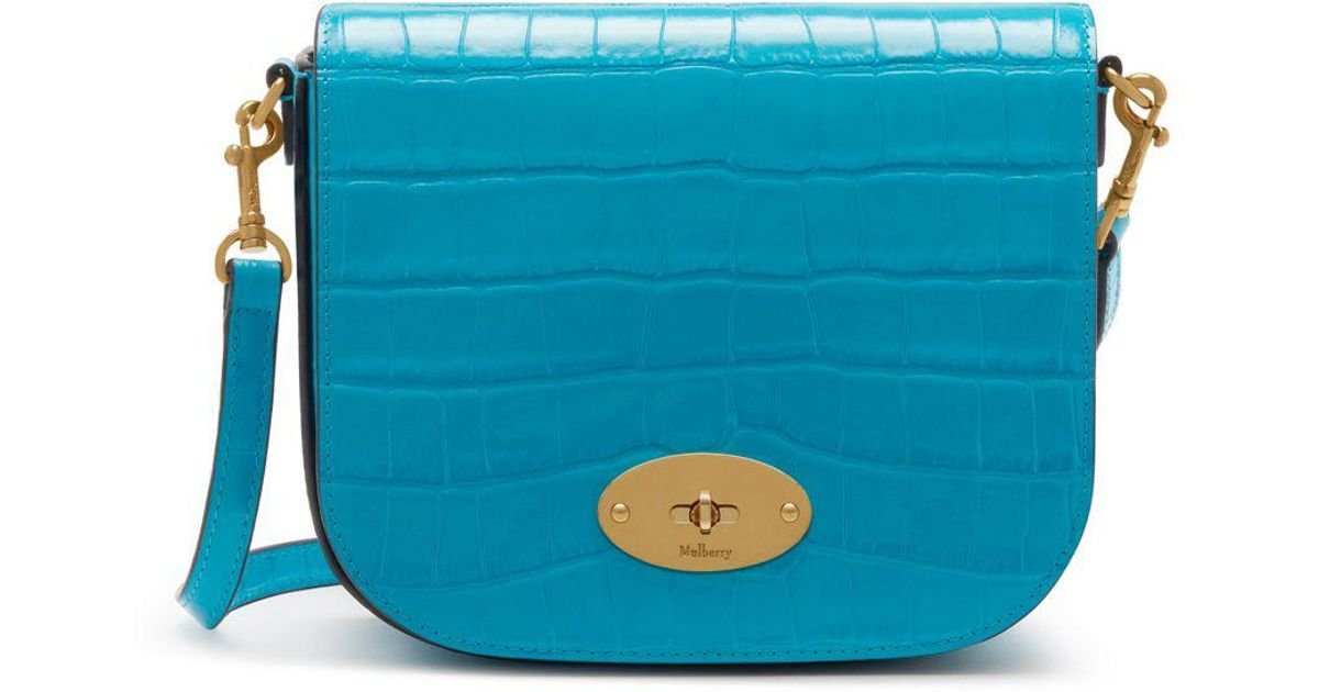 10afab5d2c Mulberry Small Darley Satchel In Azure Croc Print in Blue - Lyst