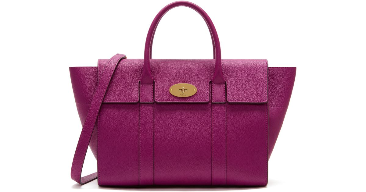 cheapest purple patent mulberry bayswater bag 67dc5 0f2a3  shop lyst  mulberry bayswater with strap in purple 608a7 107b4 6ff354af35