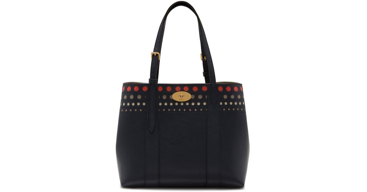 b269c07ec0 Mulberry Small Bayswater Tote In Midnight Smooth Calf Perforated Dots in  Blue - Lyst