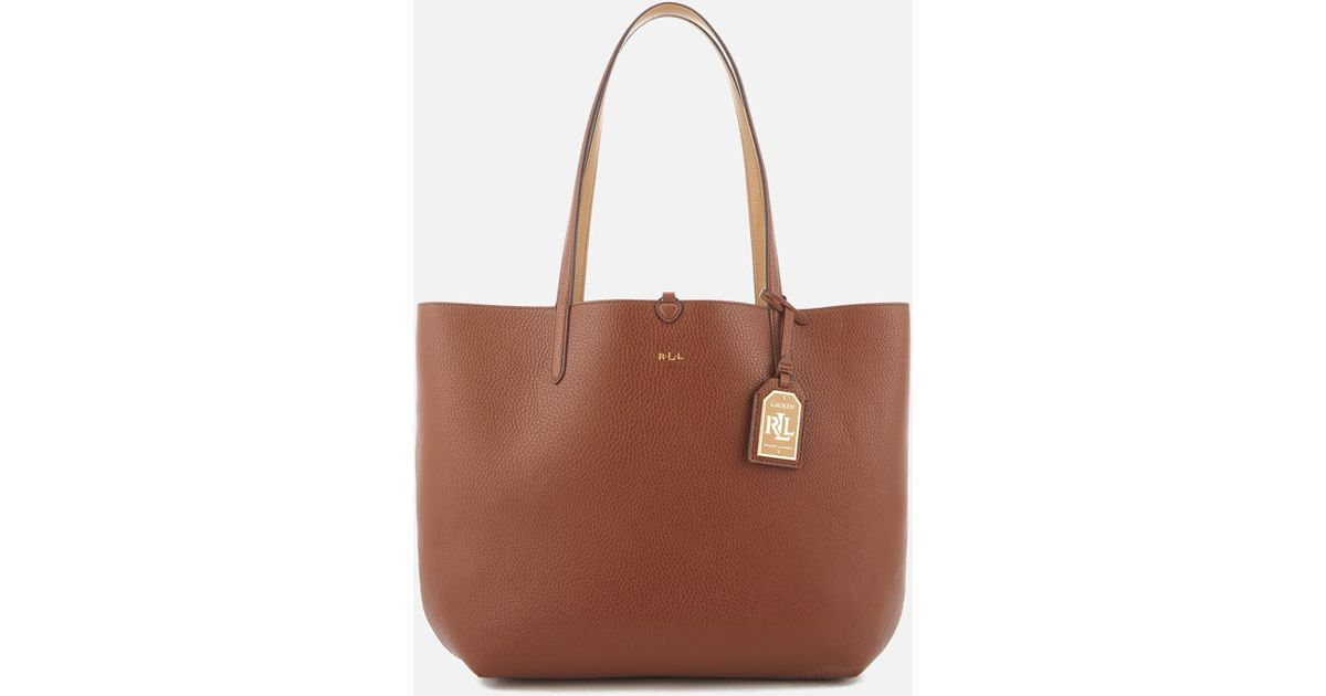 386eb7f81a5 Lauren By Ralph Lauren Milford Olivia Tote Bag in Brown - Lyst