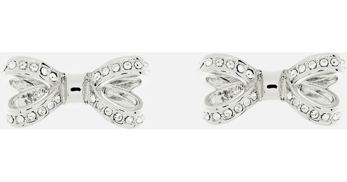 a3e3d5bc0 Ted Baker Olitta Mini Opulent Pavé Bow Earrings in Metallic - Lyst