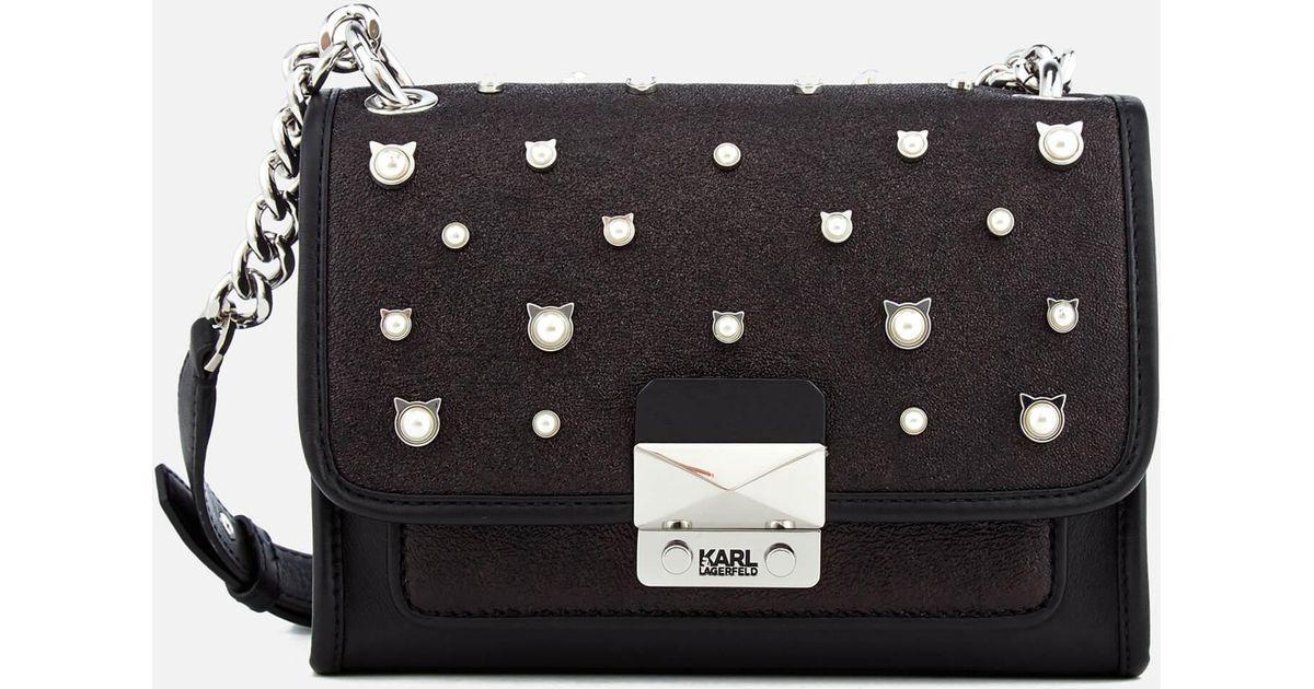 Karl Lagerfeld Cat Pearl Mini Handbag In Black Lyst