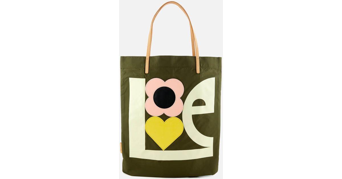 Orla kiely love print applique nylon tote bag in green lyst