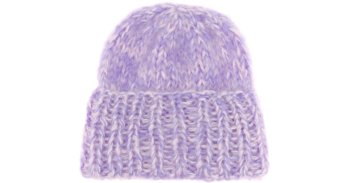 Lyst - Ganni Julliard Mohair And Wool Hat in Purple 80638af8a03