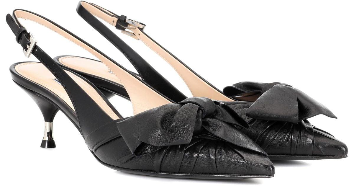 Prada Leather bow slingback pumps zvO9spoRV