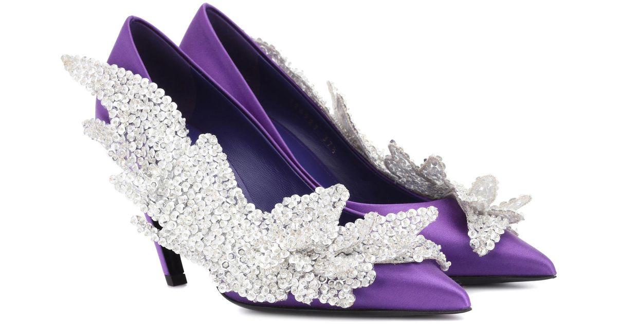 6158de17b69c Balenciaga Slash Heel Satin Pumps in Purple - Lyst