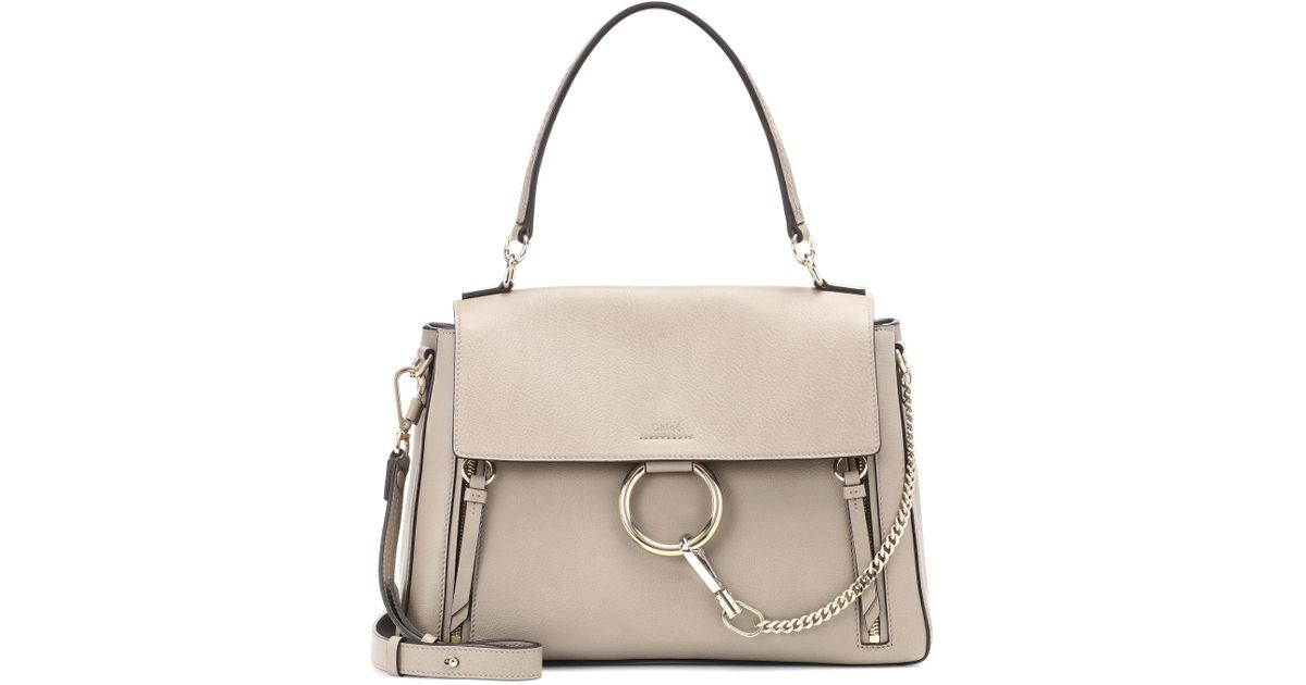 84297236f1 Chloé Medium Faye Day Leather Shoulder Bag in Gray - Lyst