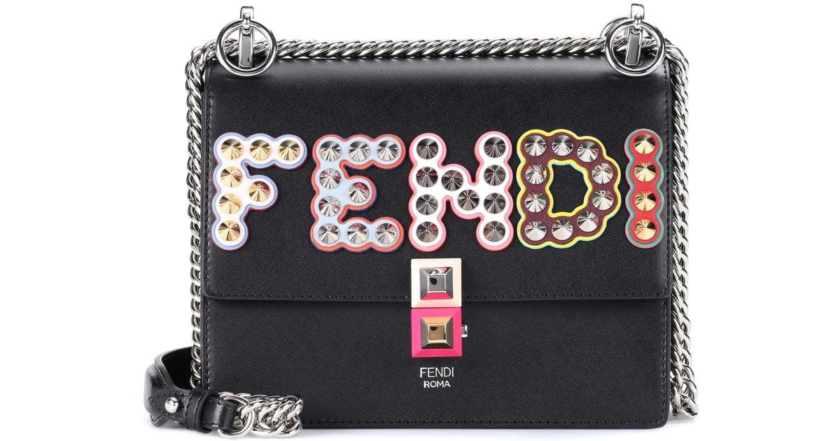 e0bc2ef45a9 Fendi Kan I Small Leather Shoulder Bag in Black - Lyst