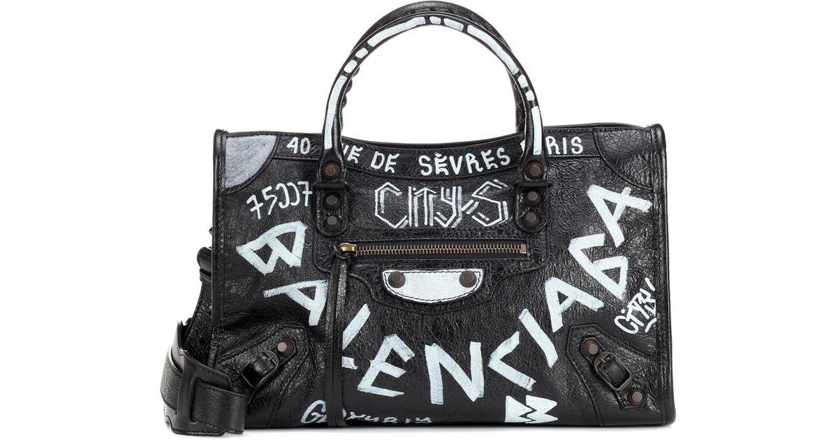 Lyst - Balenciaga Classic City Graffiti Small Leather Tote in Black ced5a13e1642d